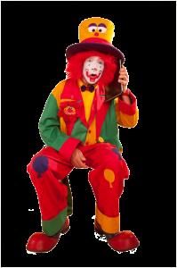 Auf diesem Bild sieht man Clown AUgust vor seinem Auftritt auf dem Kindergeburtstag in Bochum