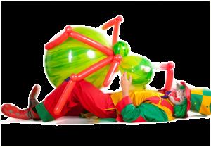 Clown Pippy mit einer riesen Ballonfigur